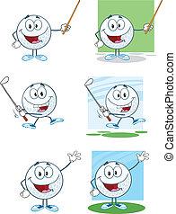 forskellige, kugler, opstille, golf