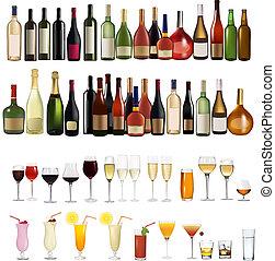 forskellige, sæt, drinks flaske