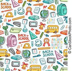 forskellige, sæt, farve, ting, skole, seamless, mønster