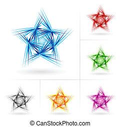 forskellige, sæt, stjerner, iconerne