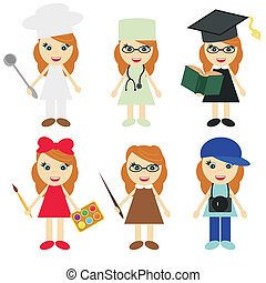 forskellige, seks, piger, professioner