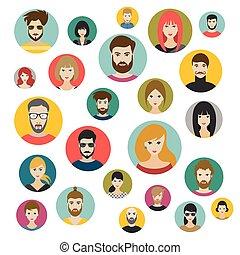 forskellige, style., nationalitet, sæt, avatars, personer, hoveder, folk, lejlighed, vector.