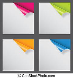 forskellige, text., illustration, vektor, sted, papirer, hjørne, din