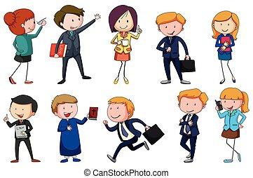 forskellige, type, professioner