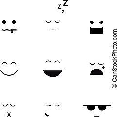 forskellige, vektor, samling, clipart, emoji