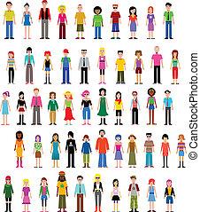forskellige, vektor, samling, folk