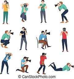 fotograf, sæt, avatars