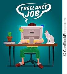 freelance, vektor, illustration, mand