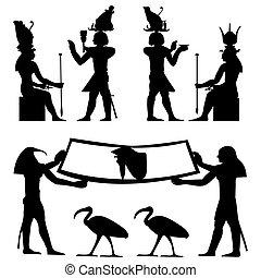 fresco, hieroglyffer, ægyptisk