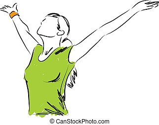 frihed, pige, åndedræt, illustration