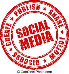 frimærke, medier, vektor, sociale