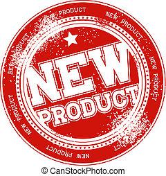 frimærke, nyt produkt, vektor, grunge