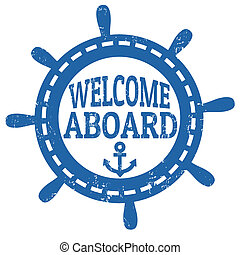 frimærke, velkommen, ombord