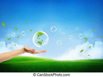 frisk, begreb, grøn jord, nye