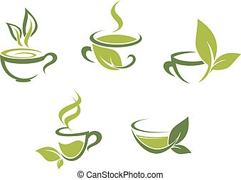 frisk, blade, grøn te