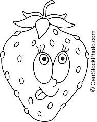 frisk, cartoon, jordbær