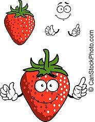 frisk, cartoon, rød, jordbær