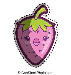 frisk, karakter, cartoon, jordbær