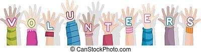 frivillige, hænder, tekst