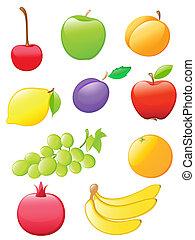 frugt, blanke, iconerne