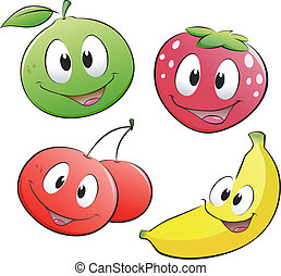 frugt, cartoon