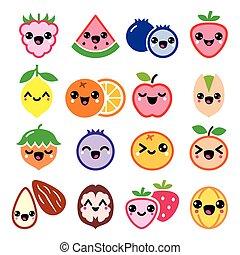 frugt, tossede, cute, characte, kawaii