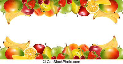 fruit., lækker, kanter, moden, to, vector., lavede