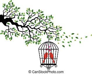 fugl, cartoon, silhuet, træ