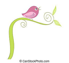 fugl, cute, sang