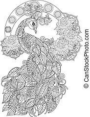 fugl, side, coloring