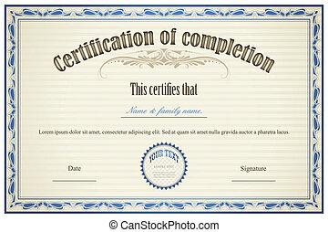 fuldbyrdelse, certifikat