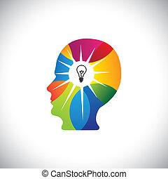 fulde, talentfulde, og, forstand, ideer, geni, person, løsninger