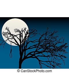 fulde, uhyggelige, tre, måne, bar, højdepunkt