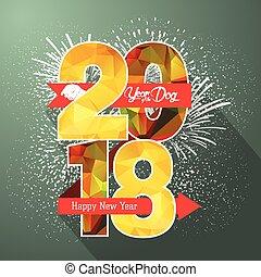 fyrværkerier, illustration, etikette, 2018, år, nye, emblem, glade
