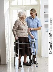 gå, kvinde, carer, ramme, gammelagtig, hjælper, bruge, senior