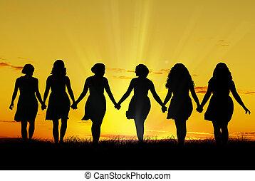 gå, kvinder, hånd