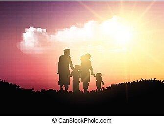 gå, silhuet, familie, himmel, imod, solnedgang