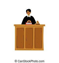 gårdsplads, courthouse, hen, karakter, præsidere, vektor, illustration, kvindelig, dommer, fremgangsmåde