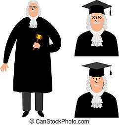 gårdsplads, kappe, illustration, karakter, isoleret, lovlig, vektor, richter., dommer, hvid, cartoon