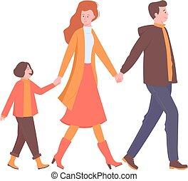 gåturer, glade, holde, familie, hands.