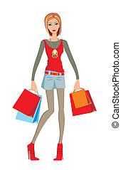 gør, shopping kvinde, unge