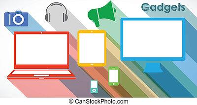 gadgets, sæt, vektor, -, iconerne