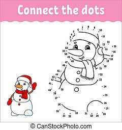 game., worksheet., answer., prik, snowman., book., jul, coloring, linje., cartoon, character., aktivitet, hæve, kids.