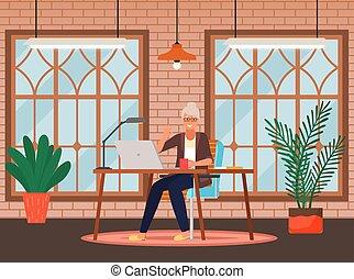 gamle, det sidder, person, arbejder, kontor, computer, businesswoman, home., tabel, teknologi