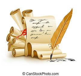 gamle, tekst, blæk, avis, scripts, håndskrift, fjer