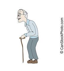 gammel mand, vektor, baggrund, hvid