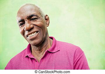 gammelagtig, kigge, kamera, sort, portræt, smile mand