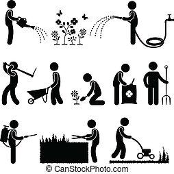 gartneriet, arbejde, arbejder, gartner