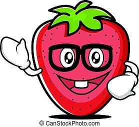 geek, jordbær, karakter, cartoon, samling