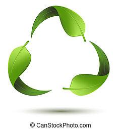 genbrug symbol, blad